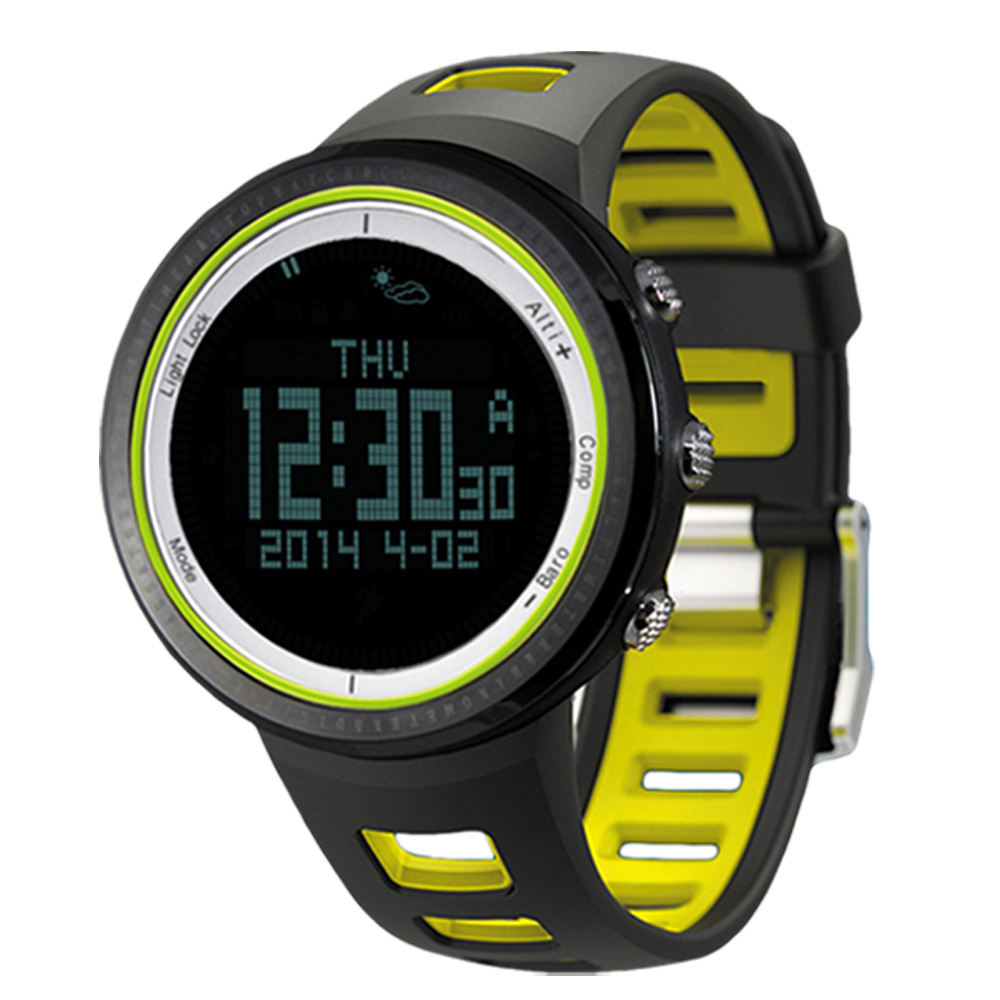 yellow Strong Resistance To Heat And Hard Wearing Sunroad Outdoor Sports Digital Men Watch-stopwatch Waterproof Altimeter Barometer Compass Pedometer Watches Clock Men