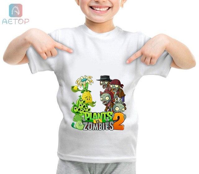 מפעלים חדשים Vs זומבים 03 בריטניה מצחיק חולצה ילדי תינוק קיץ חמוד בגדי בני בנות חולצות צמחים לעומת זומבים חולצה