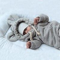 Newboorn Baby Romper Winter Gray Long Sleeve Jumpsuit Cute Rabbit Ear Hooded Infant Girls Boys Clothing