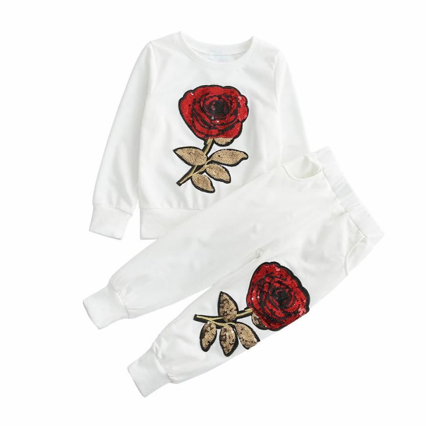 Children Baby Clothing Girl Set Outfit Floral Embroidered Sequin T-shirt+Long Pants White Newborn Kids Clothes Set For Girls Boy 2pcs children outfit clothes kids baby girl off shoulder cotton ruffled sleeve tops striped t shirt blue denim jeans sunsuit set