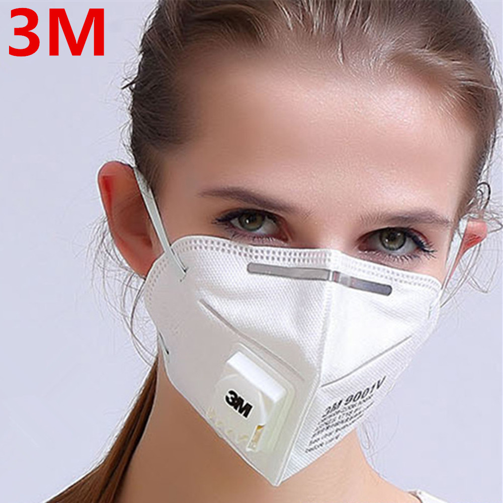 1Pc 3M 9001V KN90 Vent Anti-dust Masks Anti PM2.5 Industrial Construction Dust Pollen Haze Gas Family&Pro Site Protection Tool airborne pollen allergy