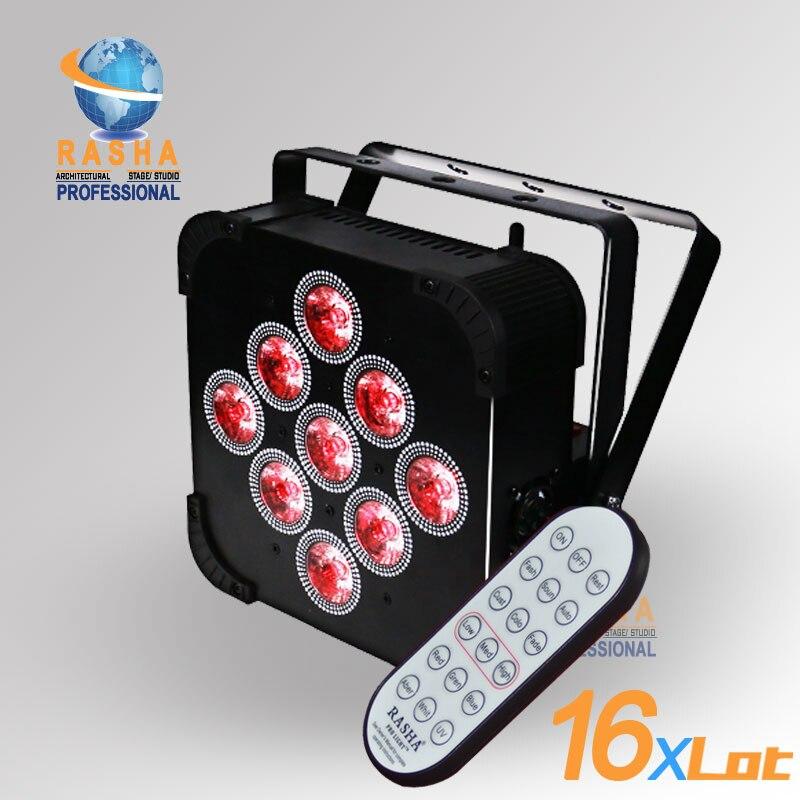 16X Lot Новинка 9*18 Вт 6in1 RGBAW + УФ Батарея работает с Встроенный Беспроводной LED-Телевизор с номинальной свет с DMX512 Стадия LED Par Can