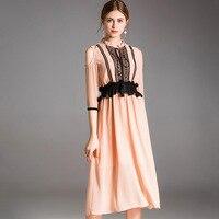 2019 весна лето высокого класса Бутик Женская одежда Европейская американская мода строчка Тонкий темперамент шифоновое женское платье