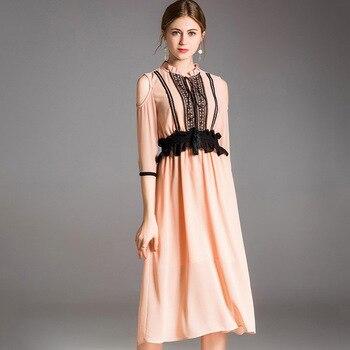 750ea9e79f 2019 Primavera Verano de gama alta boutique ropa de mujer moda europea  americana costura Delgado temperamento gasa señoras vestido
