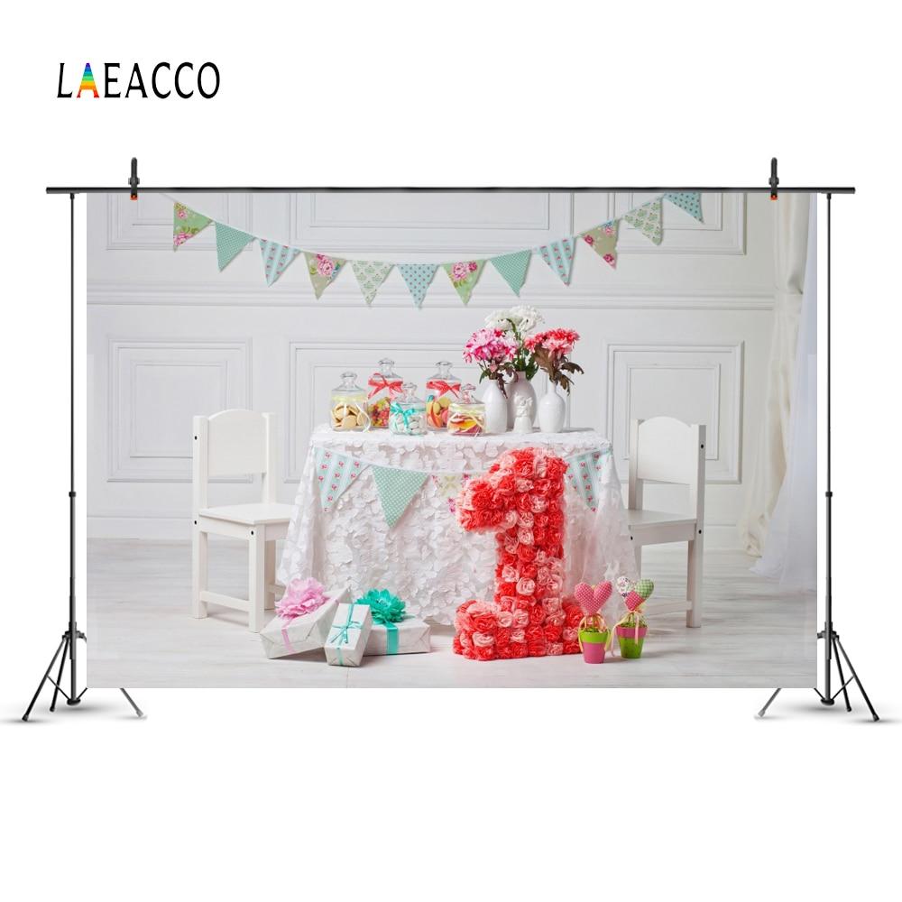 Laeacco Baby 1 Födelsedag Flaska Blomster Inredning Present Flagg - Kamera och foto - Foto 4