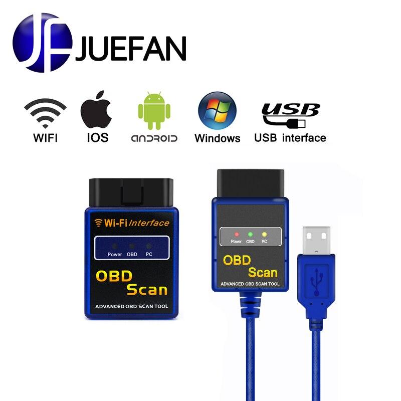 Vente chaude! WIFI + usb ELM327 Auto diagnostic Scanner Sans Fil OBD 2 Adaptateur ELM 327 mini OBD2/OBD II Diagnostic Auto Voiture outil