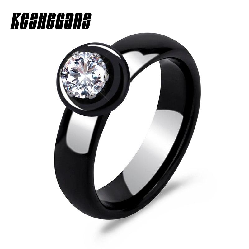 Neue Ankunft Ringe Keramik Für Frauen Riesige Zirkon Cabochon Einstellung Schwarz & Weiß Keramik Hochzeit Ringe Nette Einfache Einzigartiges Design