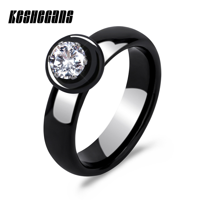 New Arrival Rings Ceramic For Women Huge Zircon Cabochon Setting