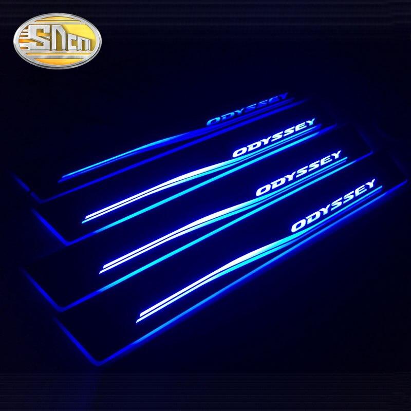SNCN 4 PCS Acrylique Mobile LED Bienvenue Pédale De Voiture Plat D'usure Pédale Porte Seuil Pathway Lumière Pour Honda Odyssey 2006 -2009 2010 2011