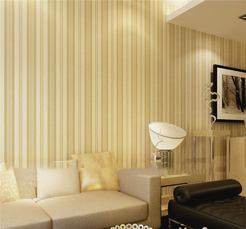 Vertical striped wallpapers for living room flocking PVC backdrop ...