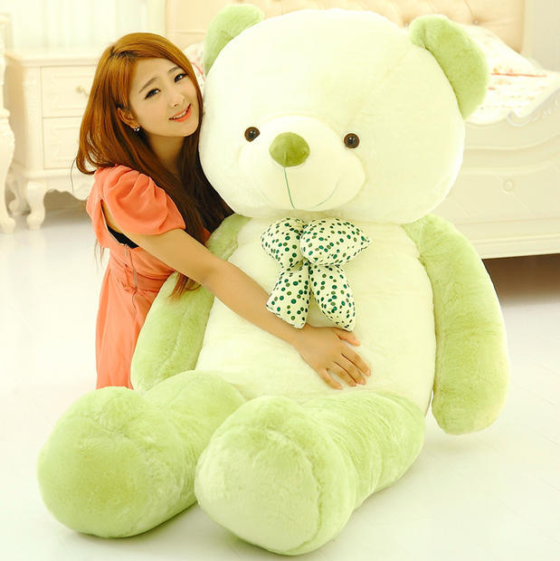large plush bow Teddy bear toy stuffed big new lovely green&white bear gift doll about 140cm 0158 new cute plush brown teddy bear toy pink heart and bow bear doll gift about 70cm