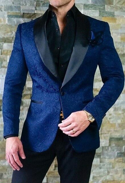 2019 men's blazer new men's wedding dress custom slim fit suit blue pattern shawl lapel suit 2 pieces (coat + pants)
