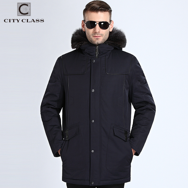 2b7f44ef473f City Class Winter Fur Jacket Men Removable Raccoon Hood Long Parka Mens  Casual Jackets and Coats Cotton Fabric Camel Wool 17843
