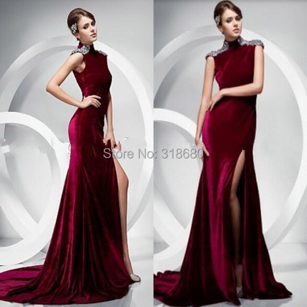 Y High Neck Beaded Side Burgundy Long Velvet Evening Dress With Tail