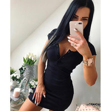 33c75d7e254f Summer Dress 2019 Fall Women Sexy Casual Knit Sheath Mini Dresses Ladies  Solid V Neck Chest Button Short Sleeve Bodycon Dress