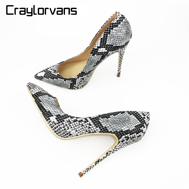Craylorvans  2018 NEW Fashion Snake Printing Women High Heels Stiletto Shoes 12cm Sexy Pumps Party wedding shoes size 43 weiqiaona european 2018 women new fashion show leather snake skin rhinestone flowers high heel sandalss sexy ladies party shoes