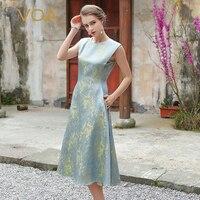 VOA шелк жаккард длинное платье Для женщин без рукавов Щепка Серый роскошные Винтаж элегантные женские офисные Ретро китайские платья осень