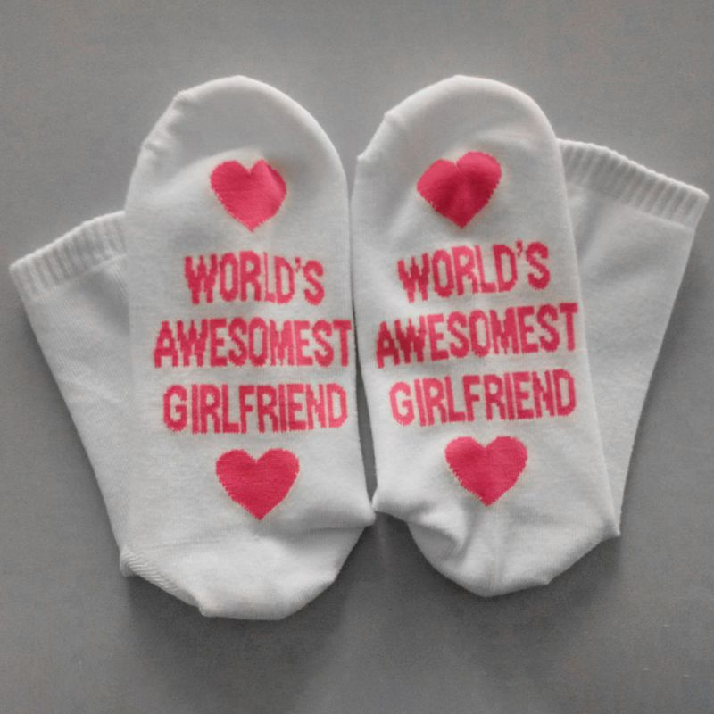 Couples Lovers Men Women Mid Calf Long Crew Socks Elastic Rib Trim Love Heart Boyfriend Girlfriend Funny Words Sole Cotton Tube in Stockings from Underwear Sleepwears