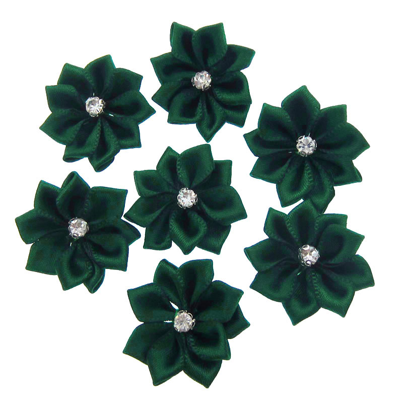 40Pcs Green Small Fabric Satin Flowers with Rhinestone Appliques Sewing  Wedding Garment Accessories Flowers 2.8cm ae3a3ed0f92c