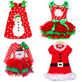 2017 New Baby Girls Christmas Man Dot Dress Costume Cotton children Dresses Christmas Red color children's Clothing 2-6 yrs
