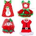 2017 Novos Do Bebê Meninas Natal Homem Dot Traje Vestido das crianças Vestidos de Algodão cor Vermelho Natal 2 roupas para crianças-6 anos
