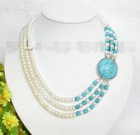 Free Shipping>> new hot 3strand white freshwater pearl turquoise necklace