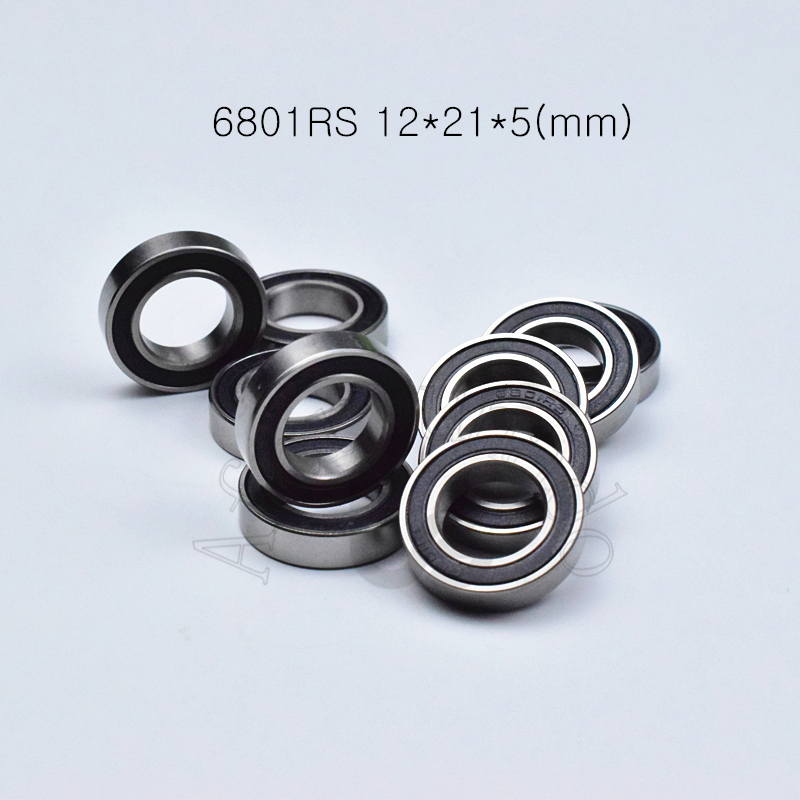 6801RS 12*21*5(mm) 10pieces Free Shipping Bearing  ABEC-5 6801 6801RS Chrome Steel Rubber Sealed Bearing Thin Wall Bearings
