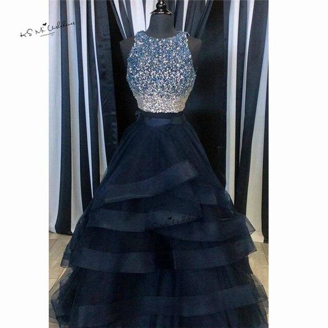 hot sales 1f474 12343 US $140.0 20% di SCONTO Navy Blu vestiti Lunghi Da Promenade con Strass  Ruffles Skirt 2 pezzo Dell'abito di Sfera Formale Abiti Da Sera Vestido de  ...
