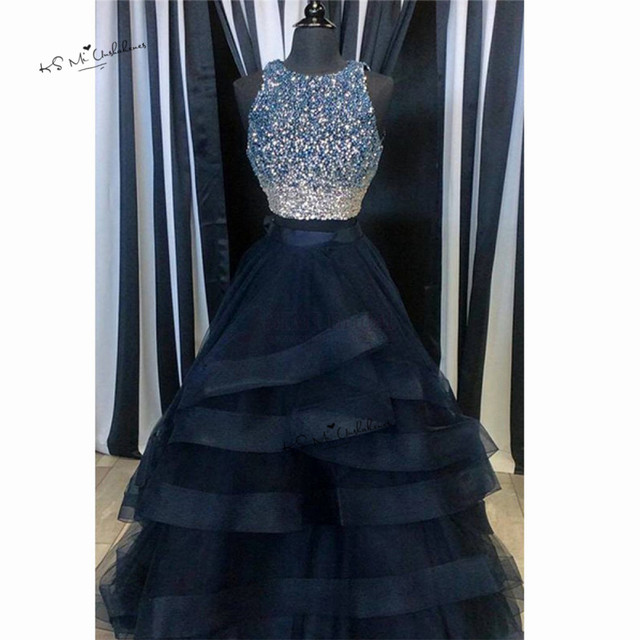 Navy Blue Long Prom Dresses with Rhinestones Ruffles Skirt 2 Piece ...