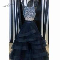 Navy Blue Long Prom Dresses with Rhinestones Ruffles Skirt 2 Piece Formal Evening Gowns Vestido de Formatura Ball Gown Gala Jurk