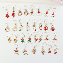 Women Christmas Dangle Earrings Cute Santa Claus Snowman Lovely Tree Bell Romantic Christmas Gifts For Women Girls Kids pair of chic snowman christmas earrings jewelry for women