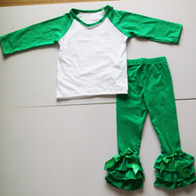christmas green o-neck tees and ruched long leggings fashion patchwork style tee sets elastic waist top-selling outfit