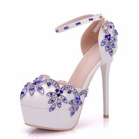 2018 Platform Women Sandals Thin High Heel Sexy Summer Shoes Sandals Ladies Slingback Rhinestone Shoes Big Size 34 41 XY B0093