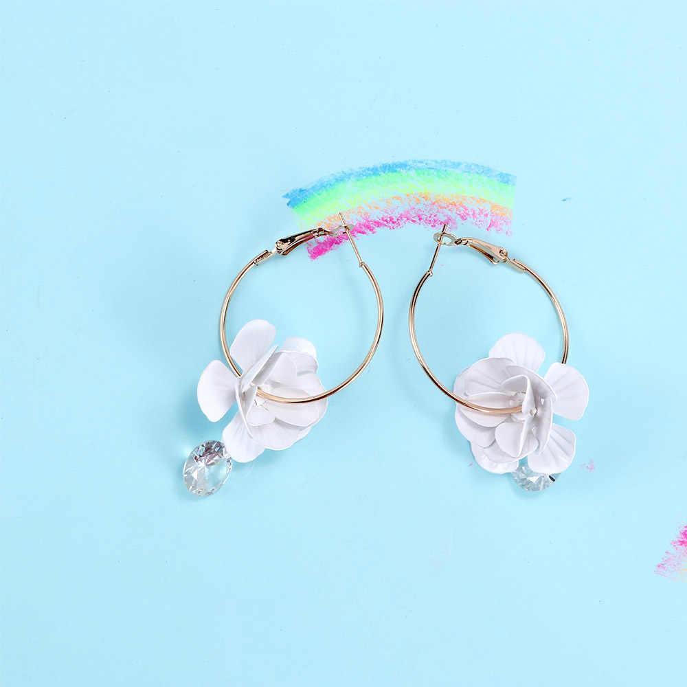 2018 Korean Style Petal Alloy Crystal Tassel Drop Earrings Large Earrings Hoop Women's Earrings Jewelry