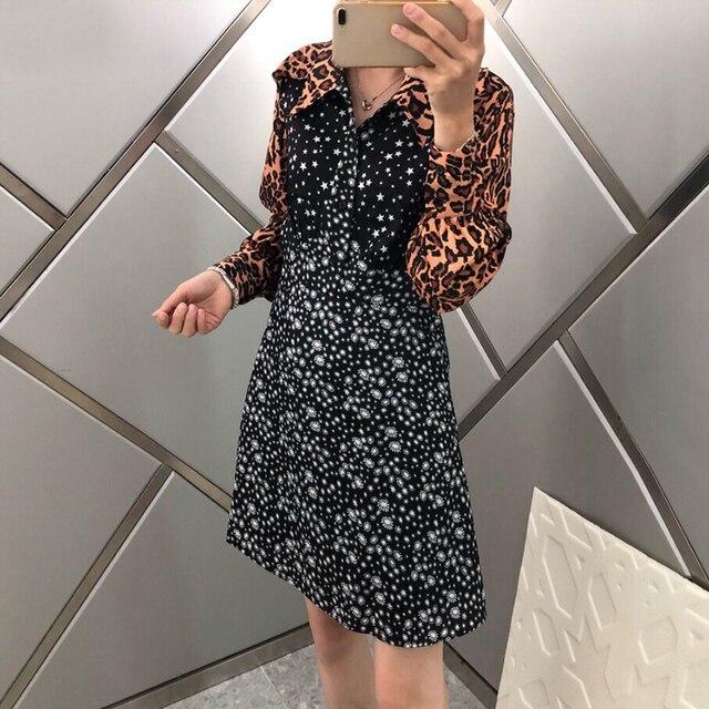 Designer Dresses Runway 2019 Autumn Vintage Patchwork Print Women Dress Long Sleeve Casual Fashion