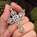 Природный опал кулон S925 серебро Природных драгоценных камней Ожерелье модный Элегантный Люкс большой крест женщины девушки ювелирных изделий партии