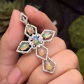 Natural opal pendant S925 silver Natural gemstone Pendant Necklace trendy Elegant Luxury large cross women girl party jewelry