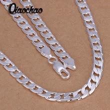 Precio de fábrica 925 joyería de plata esterlina 6mm plana de lado enlace cadenas collares de moda declaración 925 collar de plata fina hombres X84