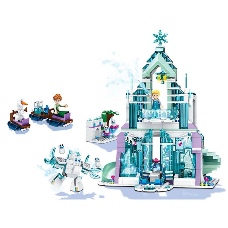 711pcs Elsa Ice Dream Romantic Castle Model Building Blocks Cinderella Princess Castle City Set Legoings Friends