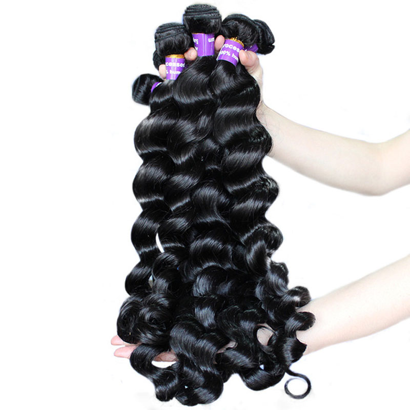 Loose Wave Bundles Brazilian Hair Weave Bundles 100% Virgin Human Hair Bundle Extension Natural Hair Black Color Comingbuy