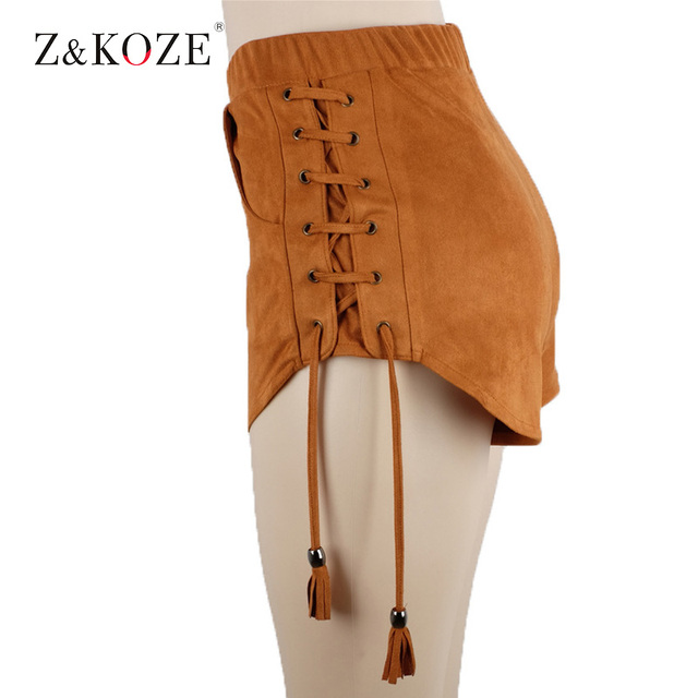 Z & KOZE Nuevos colores Sólidos SL mujeres de terciopelo con cordón cortocircuitos ocasionales de cintura alta 2017 otoño invierno sexy elegante flaco pantalones cortos