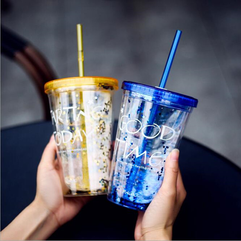 Fashion BlingBling Summer Straw Cup  450ml Good Time Double Plastic  With A Straw Water  Copo Com Canudo