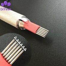 50 ชิ้น 6 X 3R เข็มแต่งหน้า 3D Eyebrow Tattoo คู่มือการใช้งาน Microblading Blade Pins Disposable Sterilized รอบ Pro DiYeah