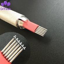 50 ADET 6 X 3R İğneler Kalıcı Makyaj 3D Kaş Dövme Manuel Microblading Blade Pins Tek Kullanımlık Steril Yuvarlak Pro DiYeah