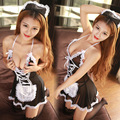 2017 Babydoll Sexy Underwear New Women Sexy Lingerie Hot Lace Maid Hat+lingerie+t-pant Costume Erotic Set Outfit Cosplay Dress
