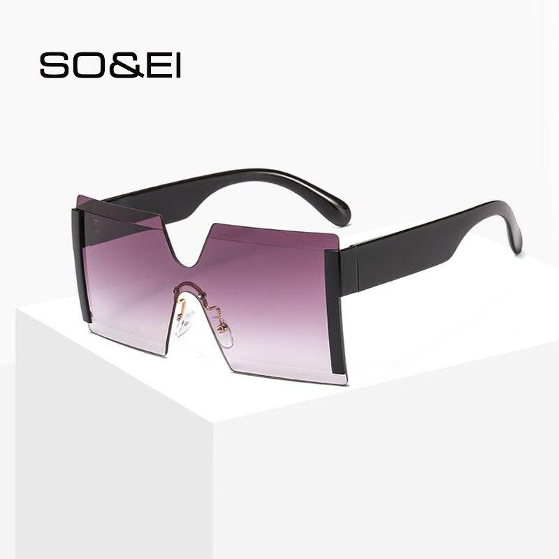 SO&EI Retro One Piece Oversized Square Sunglasses Women Conjoined Windproof Colorful Ocean Men Sunshade UV400