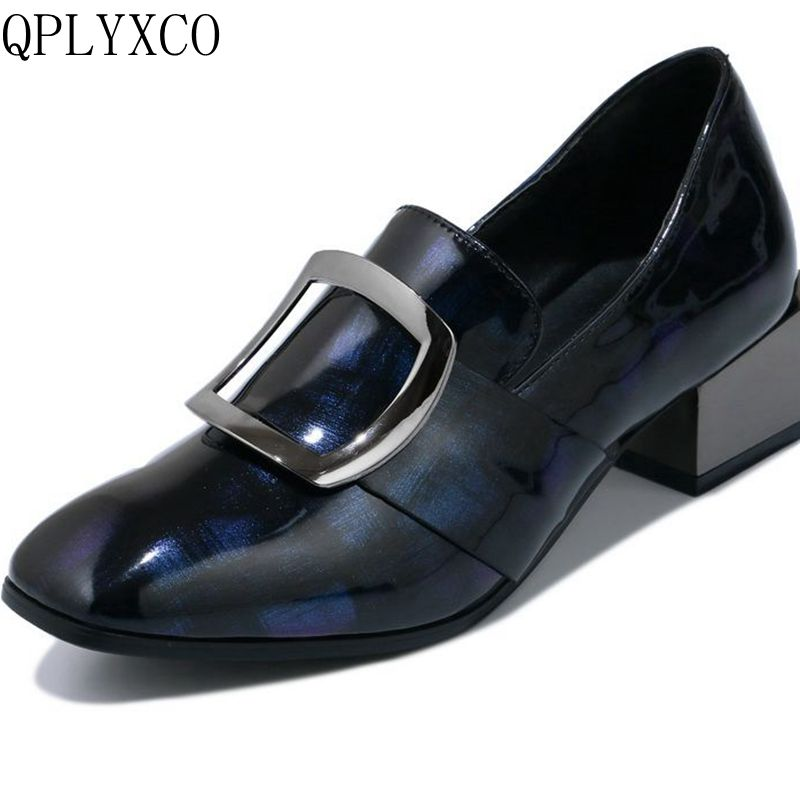 QPLYXCO 2017 New hot Sale super big and Small size 32-48 Patent Leather Women Square Toe Platform party wedding shoes 7616-1 qplyxco 2017 sale big