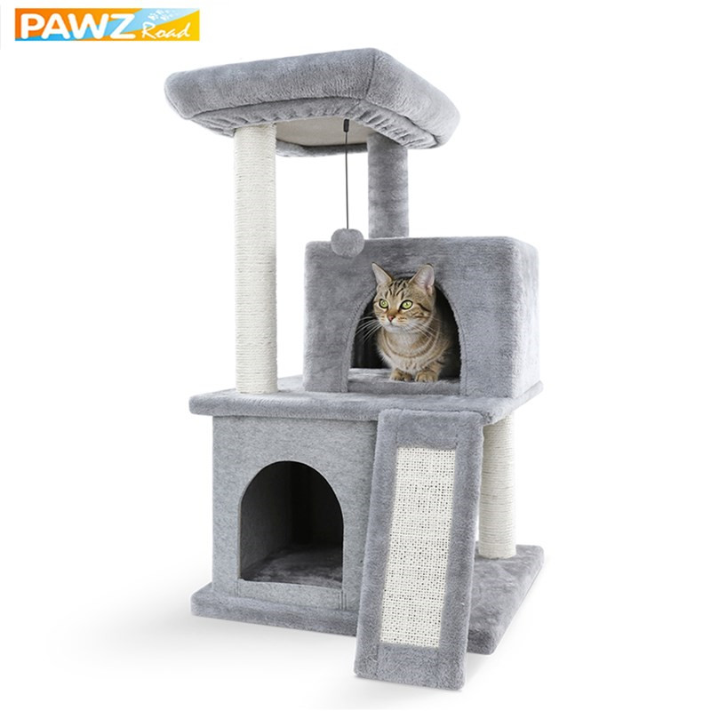 Domestic Delivery H 86cm Cat Tree Furniture Sisal Scratch Post Cat Jumping Toy Wood Kittens Pet House Play Tower Condo