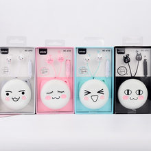 Earphone Cute Facial Expression Cartoon Cat In-ear Headset With Mic Earplugs With Storage Box For Xiaomi Android phone(China)