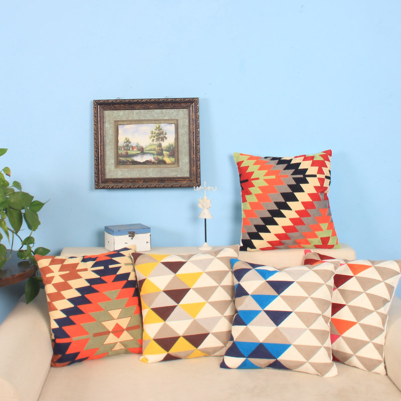 Cotton/Linen Geometric Embroidered Cushions Cover Sofa <font><b>Scandinavian</b></font> Pillow Case <font><b>Home</b></font> <font><b>Decorative</b></font> Pillow Cover Cushion Case